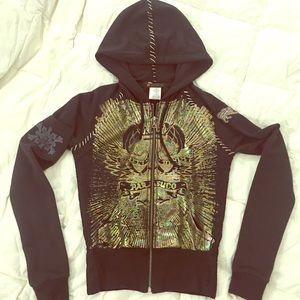 Auth PARASUCO hoodie jacket zipper lace trim